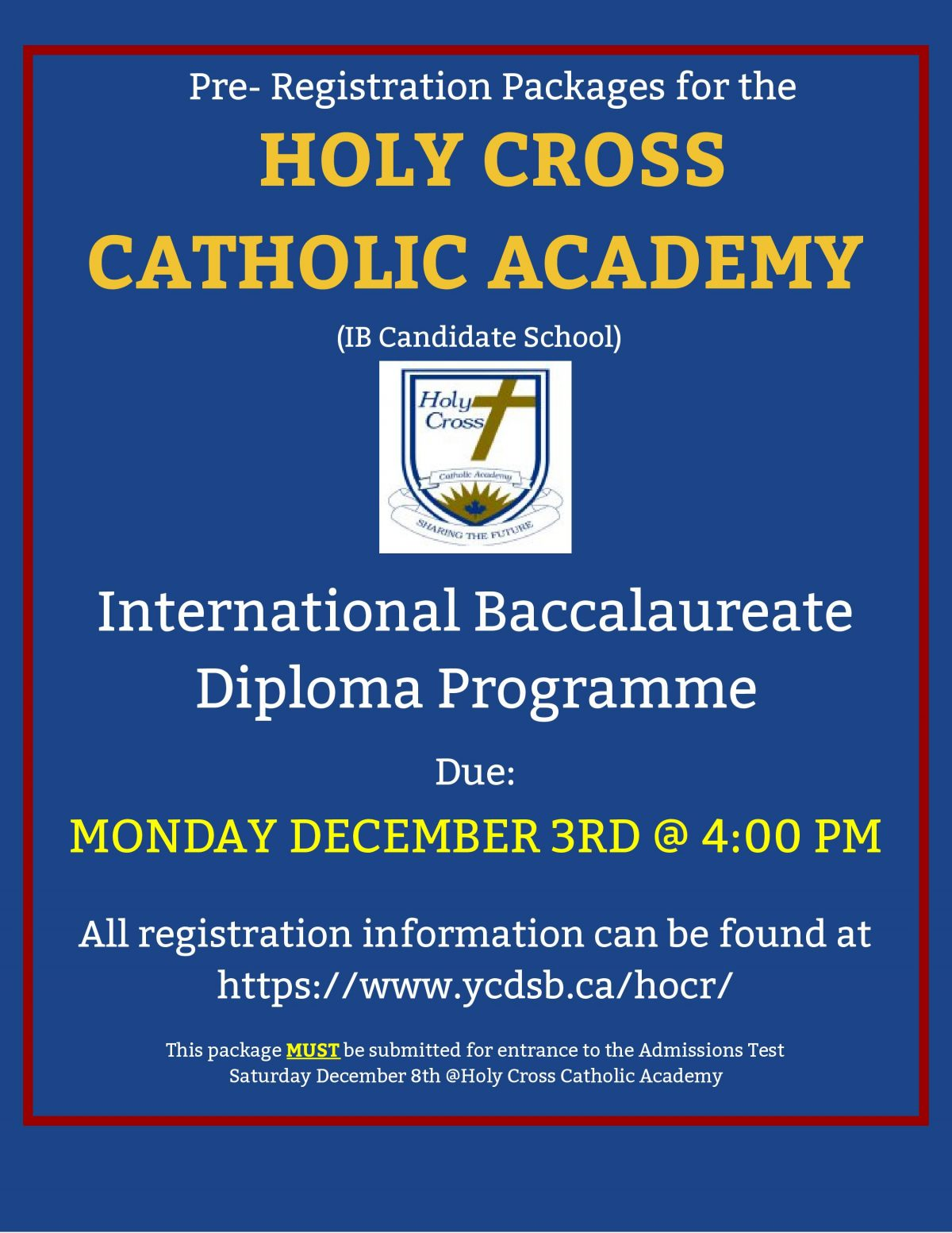 Holy Cross Catholic Academy Pre-Registration Packages